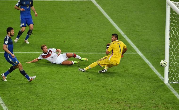 Image: Germany's forward Mario Goetze shoots and scores past Argentina's goalkeeper Sergio Romero