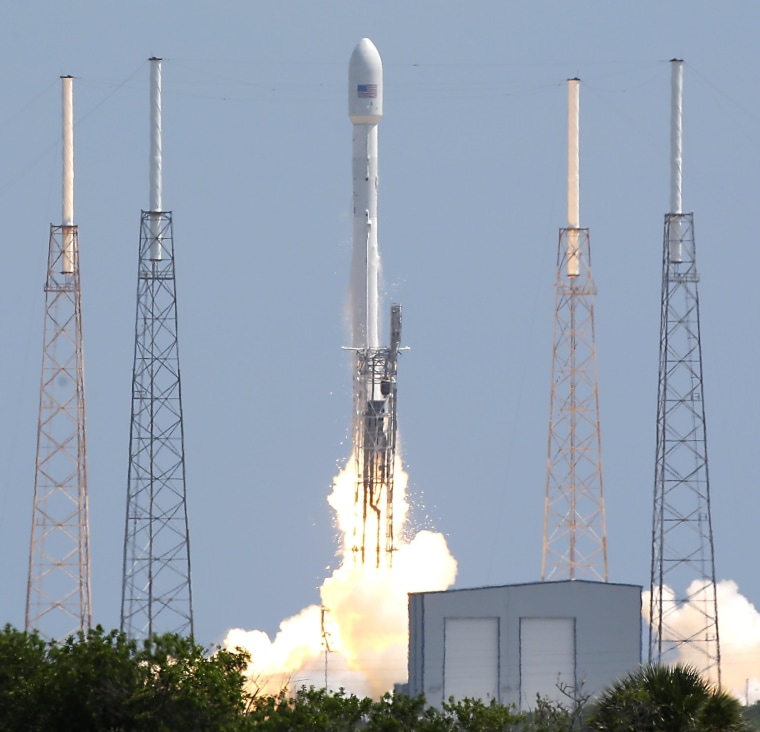 A SpaceX Falcon 9 rocket sends a payload of Orbcomm telecommunication satellites into space from Launch Complex 40 at Cape Canaveral Air Force Station in Florida on Monday.