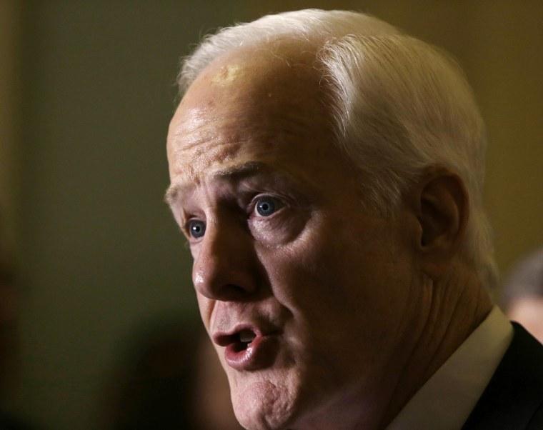 Image: Senator Cornyn talks to reporters on  immigration crisis in Texas in Washington