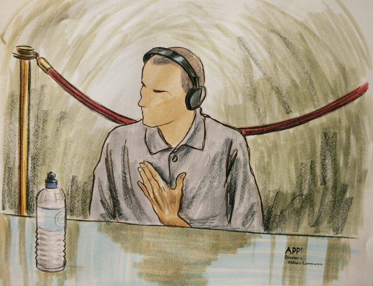 Ali Hamza al Bahlul appears before a military commission at Guantanamo Naval Base in Guantanamo, Cuba on Aug. 26, 2004 in this courtroom sketch.