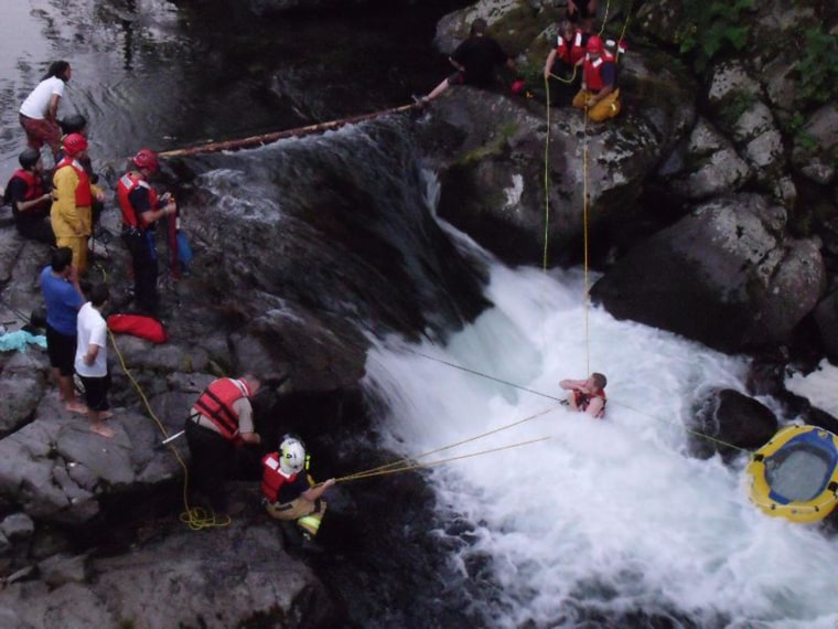 Image: John Napierkowski, 19, of Washougal Wash., became trapped in the Washougal River under the bridge at Dougan Falls on July 15.