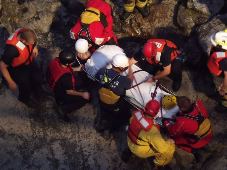 Image: John Napierkowski, 19, of Washougal Wash., became trapped in the Washougal River under the bridge at Dougan Falls on Monday night while swimming.