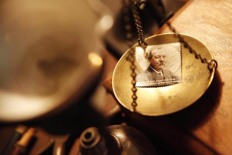 Image: The First Class class stamp featuring Sir Arthur Conan Doyle, part of the Royal Mail's Eminent Britons series which goes on sale Oct. 8, 2009r, at the fictional detective's address, 221b Baker Street, London, which is also the Sherlock Holmes Museu
