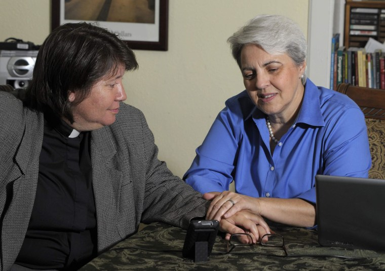 Image: Colleen Simon and her wife are interviewed at their home in Kansas City, Missouri