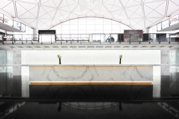 Image: The reception area at The Bridge, Cathay Pacific's new lounge at Hong Kong International Airport.