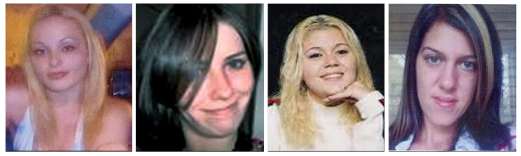 This combination of undated file photos shows, from left, Melissa Barthelemy of New York's Erie County; Maureen Brainard-Barnes of Norwich, Conn.; Megan Waterman of Scarborough, Maine; and Amber Lynn Costello of North Babylon, N.Y. One by one, starting in 2007, all four women disappeared shortly after booking a client for sex using online advertising services like Craigslist. Their bodies were found in December 2010 about 500 yards apart along a deserted stretch of Long Island beach highway.