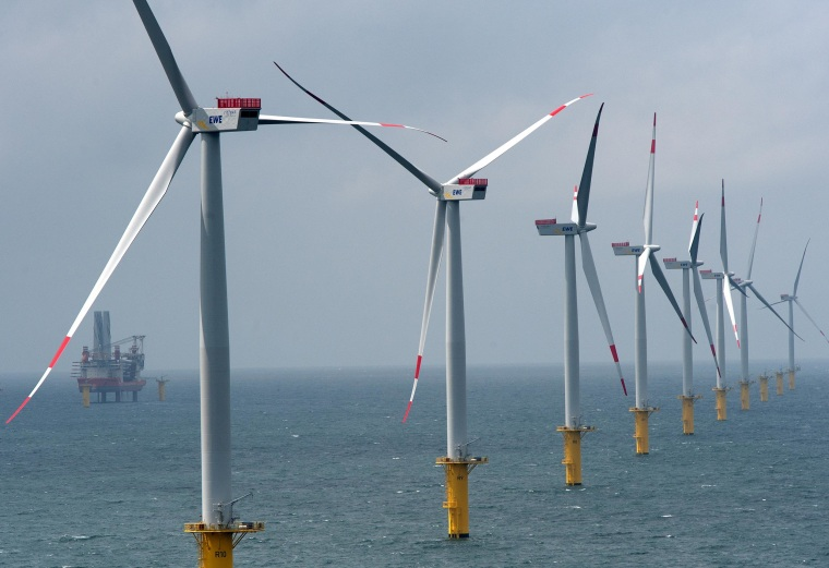 Image: Wind turbines stand at the nearly completed Riffgat offshore wind farm in the North Sea on June 23, 2013 near Borkum, Germany.