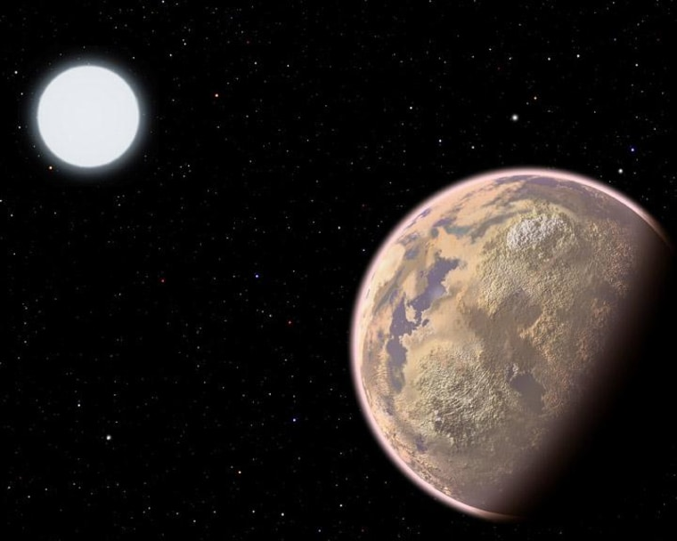 An artist's conception shows an Earthlike planet with a hazy brown atmosphere, the result of widespread pollution.