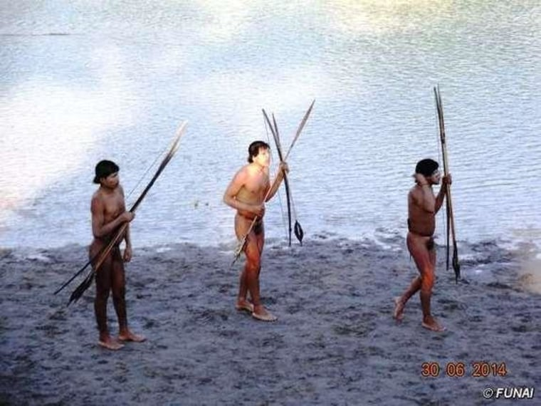 Image: Group of indigenous people who contracted the flu after making contact with settled tribe