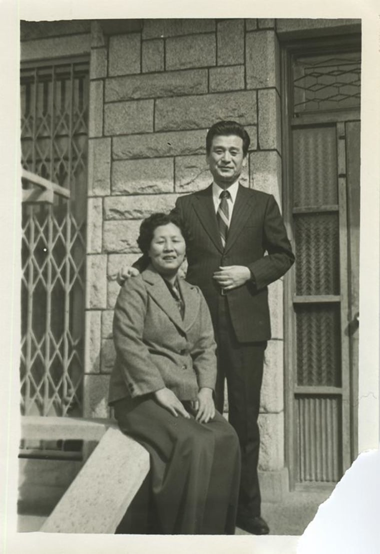 A portrait of Keum Bong Kim and her husband in Korea during their thirties. The photograph was later re-photographed using the same facial expressions and hand gestures during her Annu Matthew's recent shoot in Van Nuys.