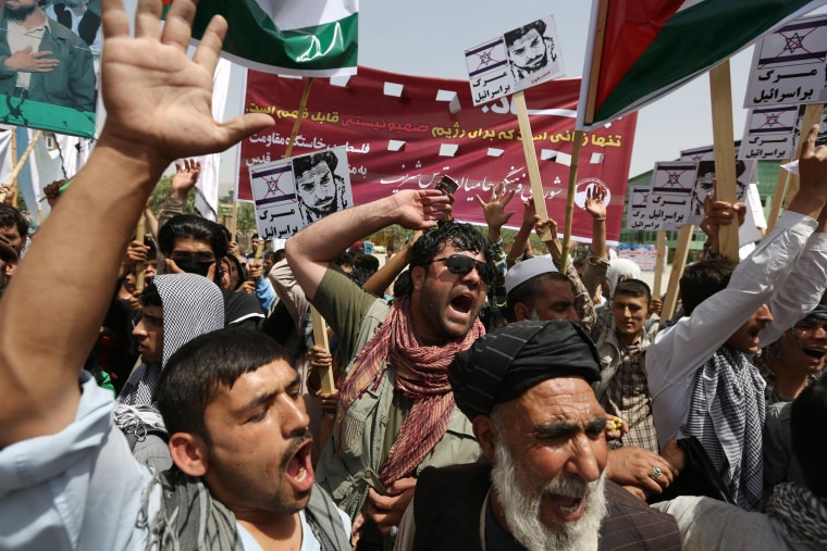 Afghan demonstrators shout slogans against Israel during a rally marking Al-Quds Day in Kabul.
