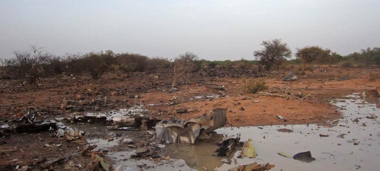 Image: The site of the plane crash in Mali.