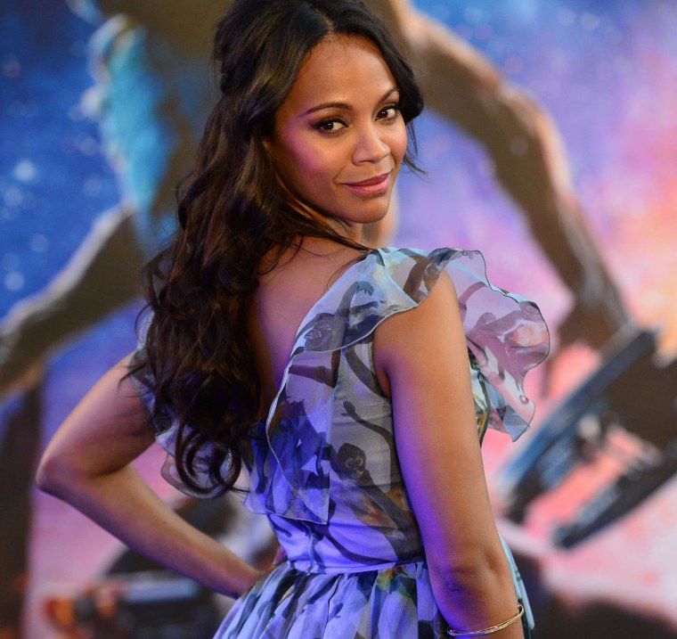 "Image: Zoe Saldana attends the European premiere of ""Guardians of the Galaxy"" in London"