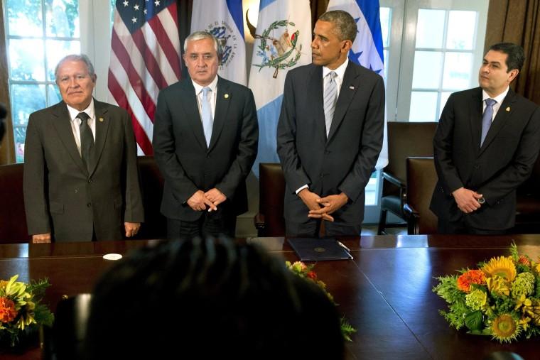 Image: Otto Perez Molina, Salvador Sanchez Ceren, Juan Hernandez, Barack Obama