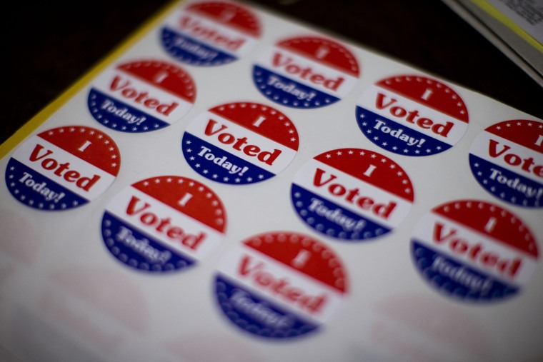 Image: Stickers for voters at a polling place