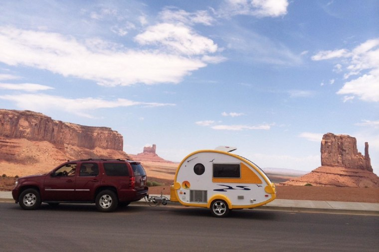 Image: Richard Eiswerth and his wife, Susan, moved from tent camping to RV-ing with a retro-style T@B teardrop camper travel trailer.