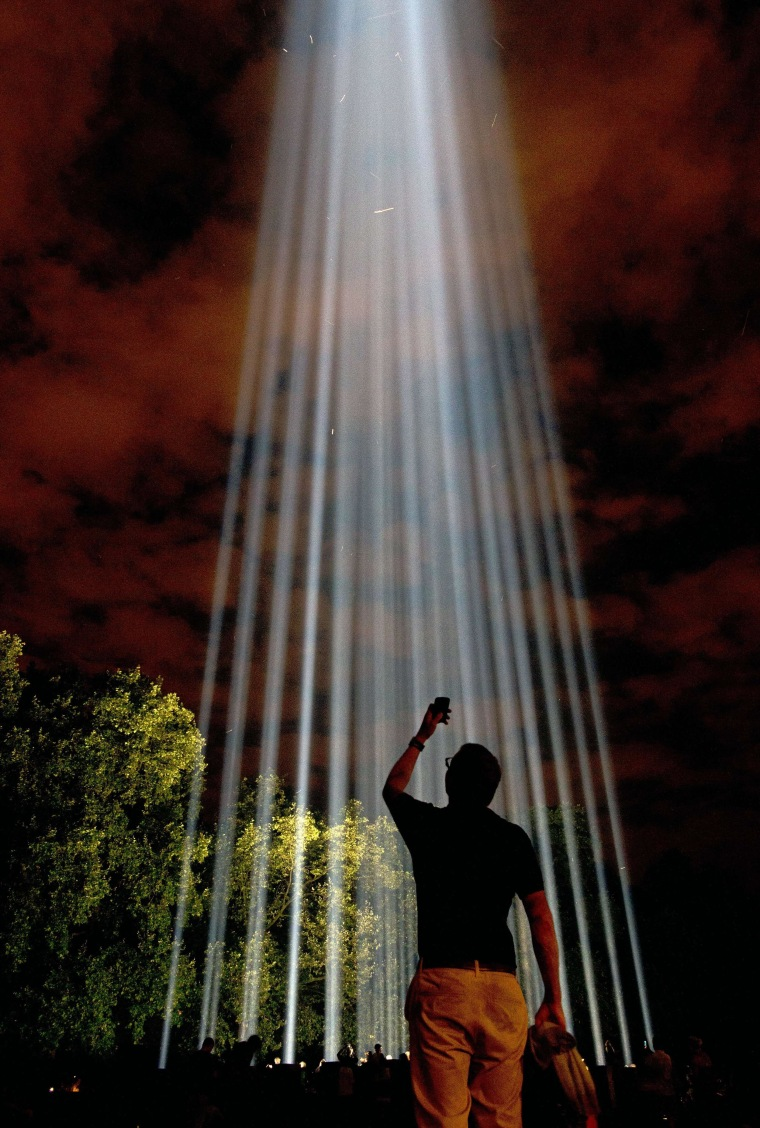 A work of art entitled Spectra by Japanese artist Ryoji Ikeda is pictured in London, on August 4, 2014, when it was lit up as part of the national commemorations marking the centenary of the outbreak of the First World War.