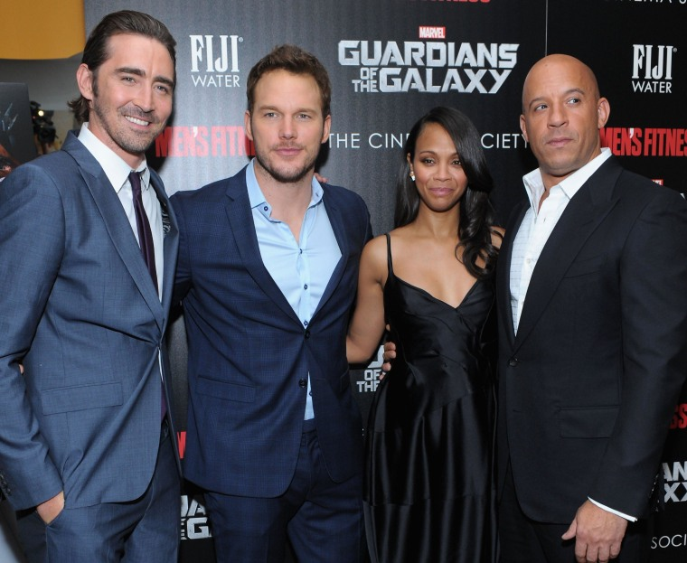 """Latina actress Zoe Saldana, seen here with actors Lee Pace, Chris Pratt and Vin Diesel, attending a screening of """"Guardians of the Galaxy"""" on July 29, 2014 in New York City.  A USC study found less than 5 percent of actors in 2013's 100 top-grossing films were Latino."""