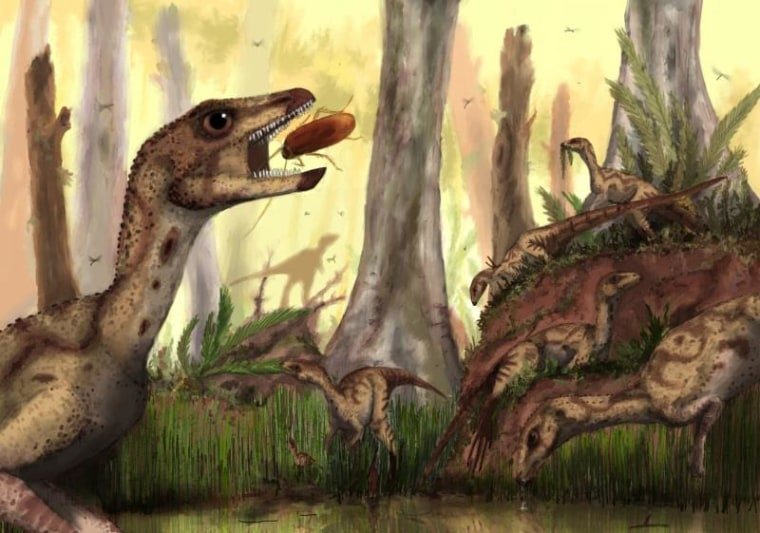 An artist's impression of the dinosaur Laquintasaura venezuelae, which lived some 200 million years ago in what is now Venezuela.