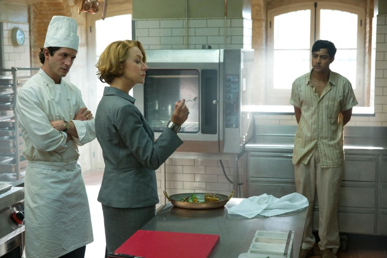 "(Left to right) Clement Sibony is Jean-Pierre, Helen Mirren is Madame Mallory, and Manish Dayal is Hassan in ""The Hundred-Foot Journey,"" produced by Steven Spielberg, Oprah Winfrey and Juliet Blake and directed by Lasse Halstrom."