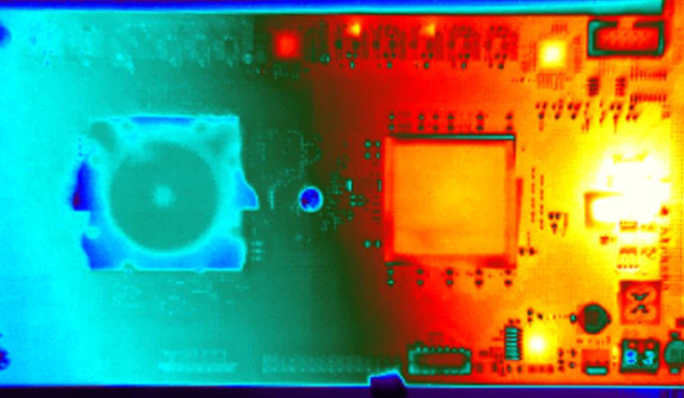 """A close-up view of the """"TrueNorth"""" chip, many of which work together to form the """"neurosynaptic cores."""""""