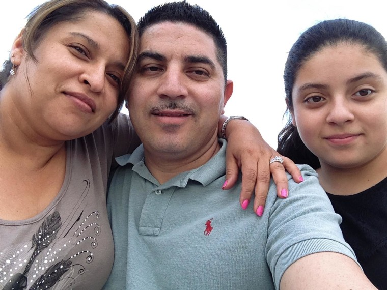 Nery Diaz, pictured here with his wife and daughter, left the Washington, D.C. area with its large Central American community and moved to South Portland, Maine, a state with a very small Latino community.