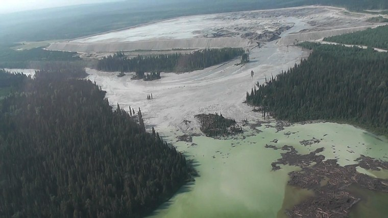 Image: The results of a tailing pond breach  at Imperial Metals Corp's gold and copper mine at Mount Polley in central British Columbia are pictured in this still image from aerial handout video
