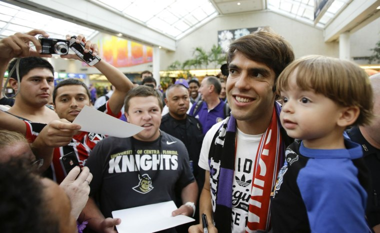 Image: Brazilian soccer star Kaka is the first designated player to sign with the Orlando City Soccer Club