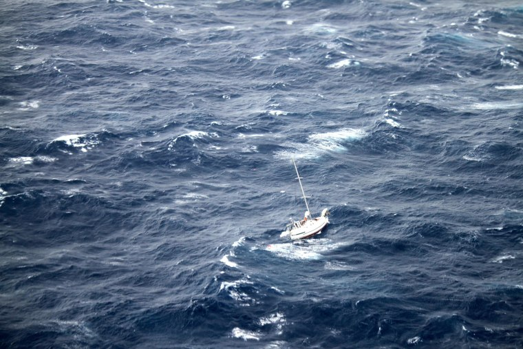 The Coast Guard is coordinating the rescue of 42-foot sailboat Walkabout caught in Hurricane Julio 414 miles northeast of Oahu, Aug. 10, 2014. Walkabout is disabled and taking on water with three people aboard.