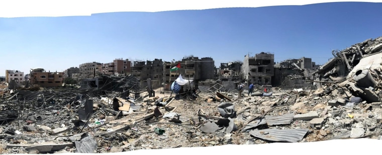 Destroyed buildings in Shujaiya, Gaza, an area that has been decimated during the recent conflict.