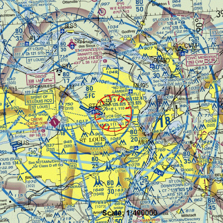 Image: A map from the FAA shows areas covered by a flight ban over Ferguson, Mo.