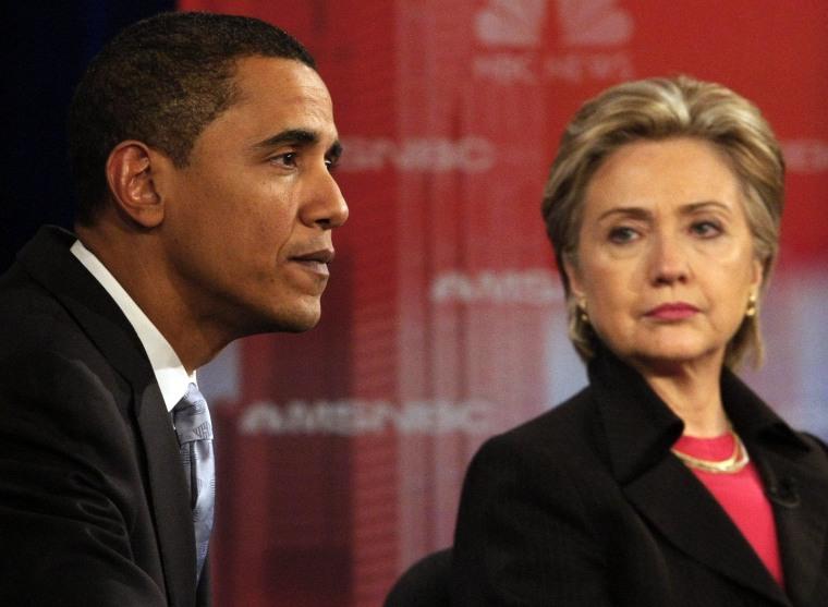Image: Democratic presidential candidates US Senator Barack Obama and Hillary Clinton take part in their debate in Las Vegas