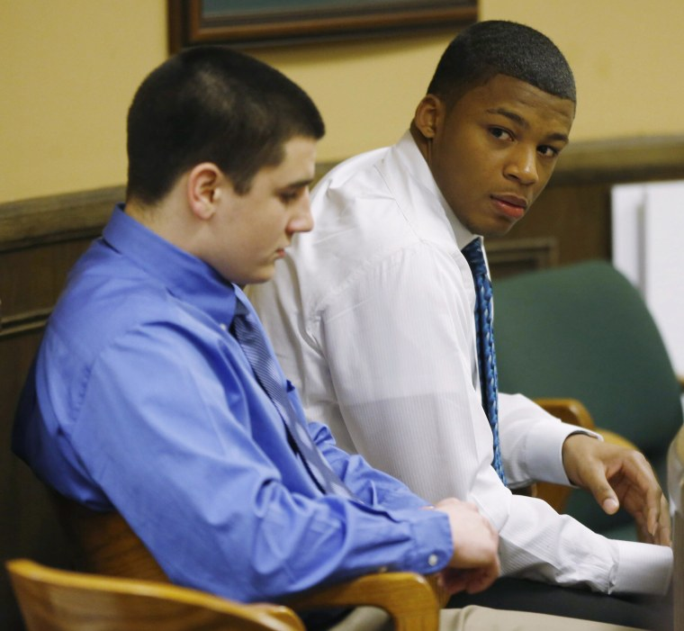 Image: Mays and Richmond sit in juvenile court in Steubenville, Ohio