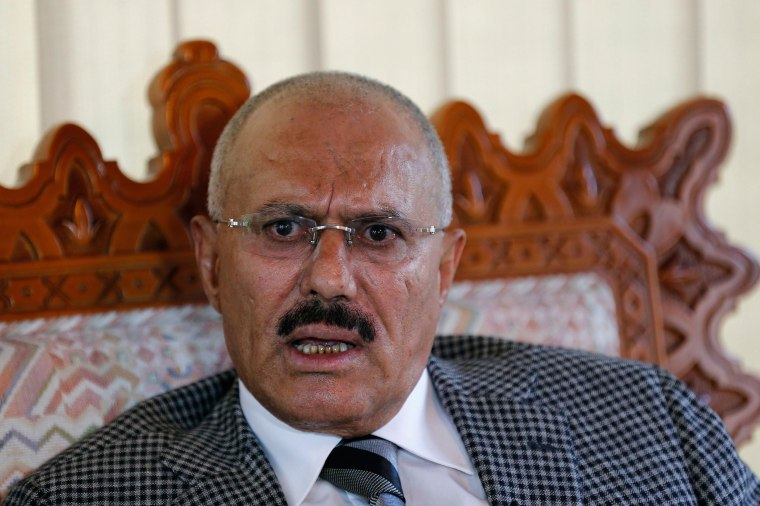 Image: Yemen's former President Ali Abdullah Saleh talks during an interview with Reuters in Sanaa