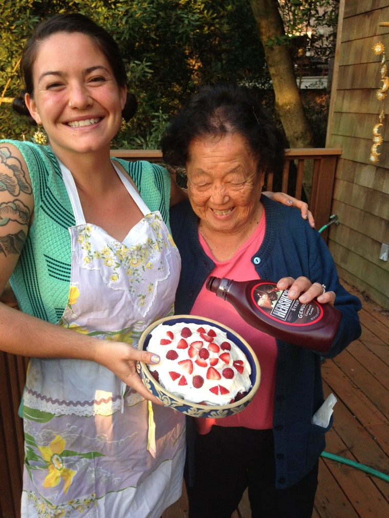 Mollie Roark and her grandmother, Kiku Ito, in the kitchen at their home in Oakland.