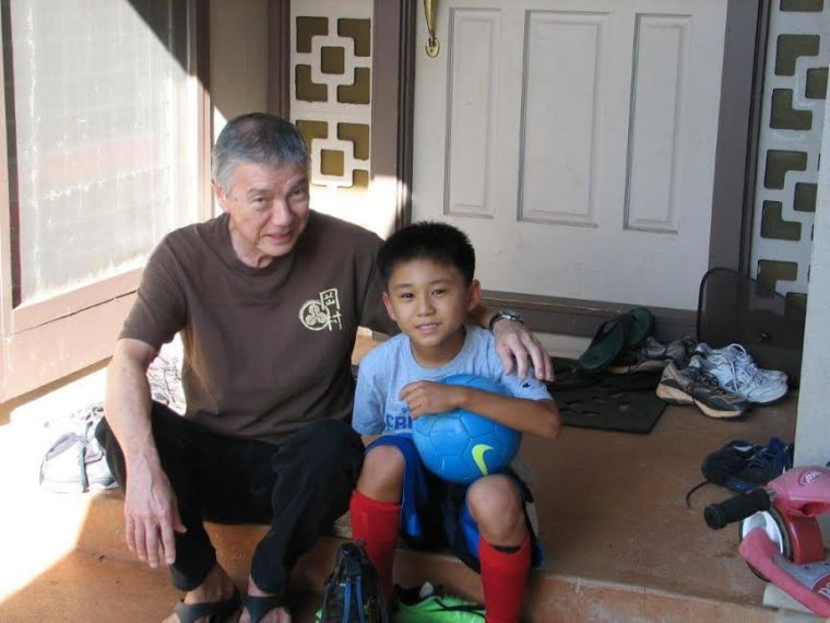 Jenee Odani's father, Howell Ching, and her son, Nick, at home on Oahu.