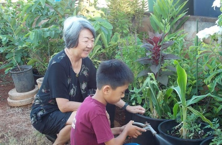 Jenee Odani's mother, Judith Ching, and her son, Nick, at home on Oahu.