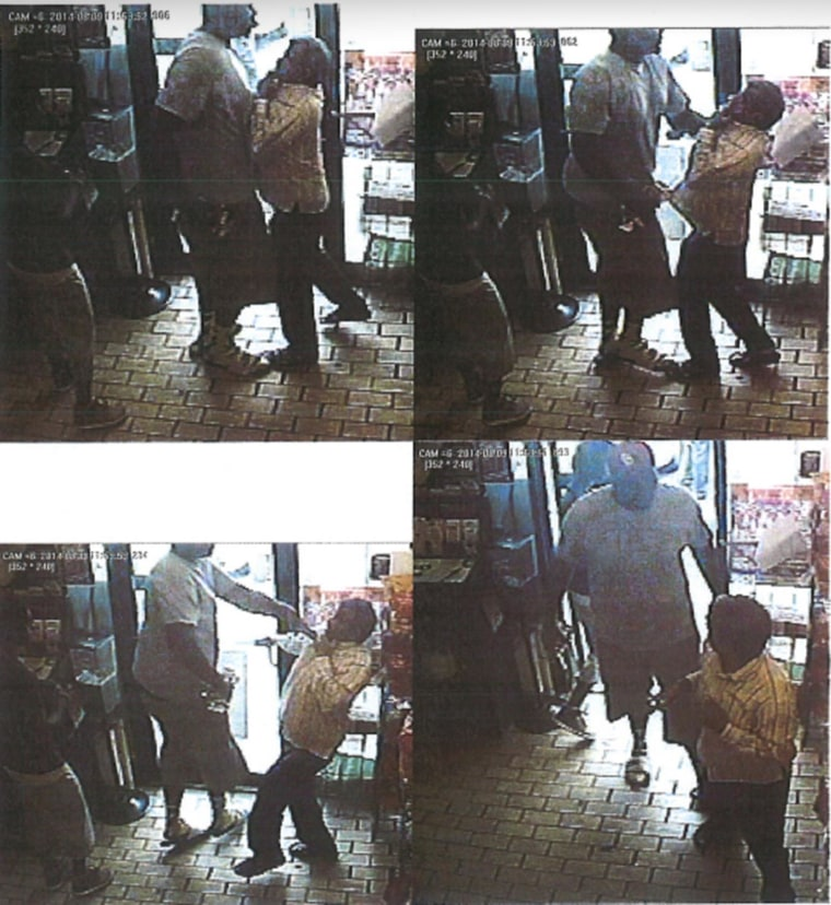 Stills released by the Ferguson (Mo.) Police Dept. from surveillance video that appear to show a confontation at a convenience store.