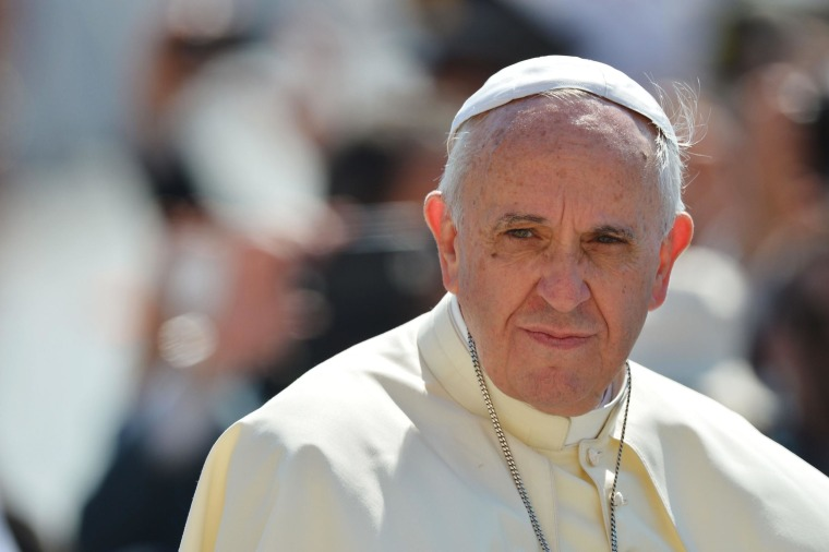 Image: Pope Francis looks on during his general audience