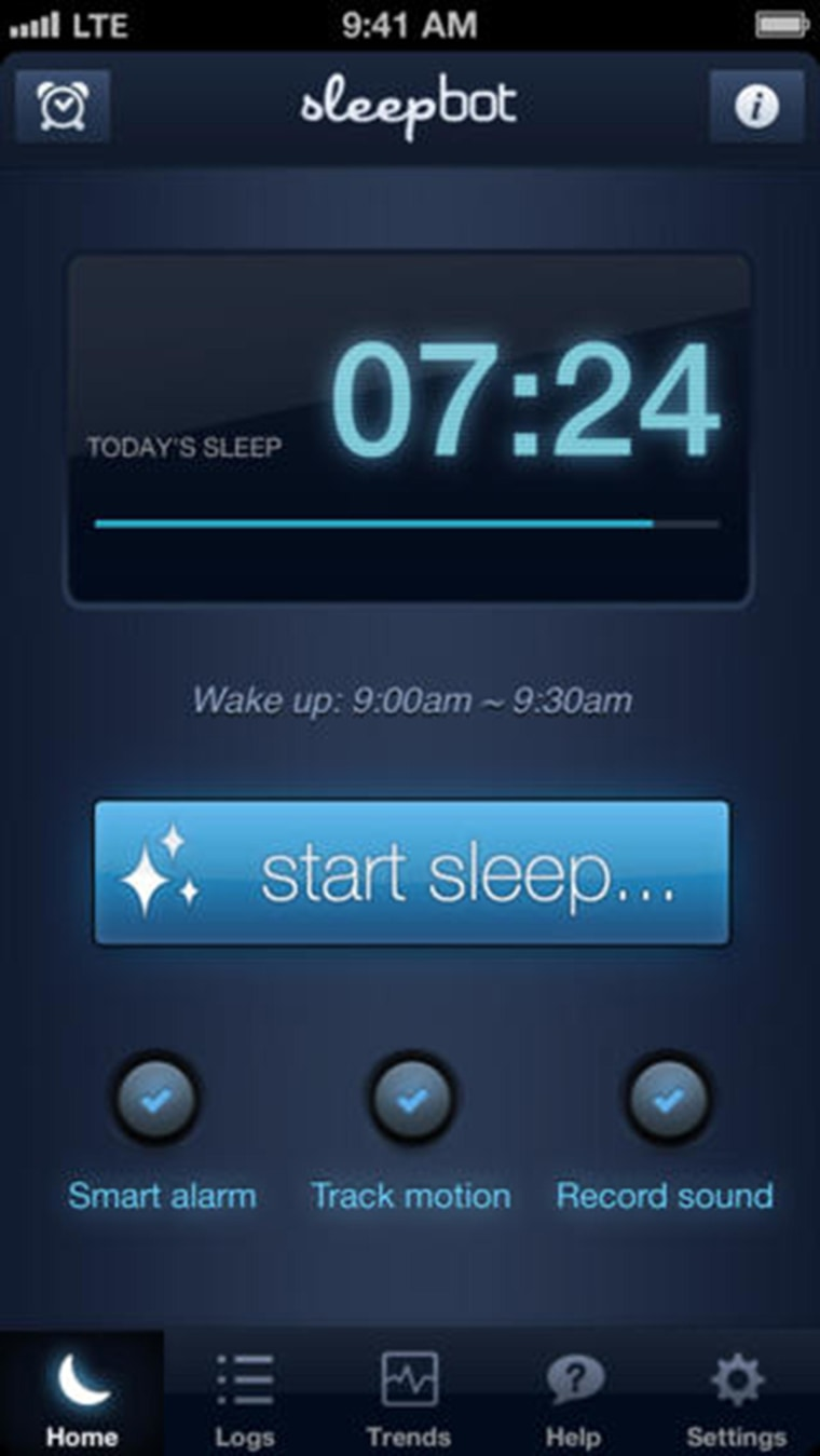 SleepBot is an app for tracking sleep schedules, motion, and sounds so users can achieve a healthier sleep pattern.