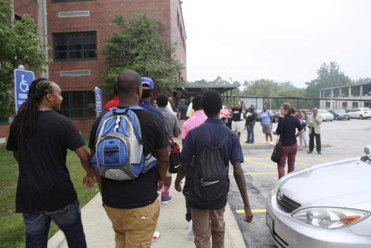 Image: Students return to Normandy High School, the school from which Michael Brown graduated.