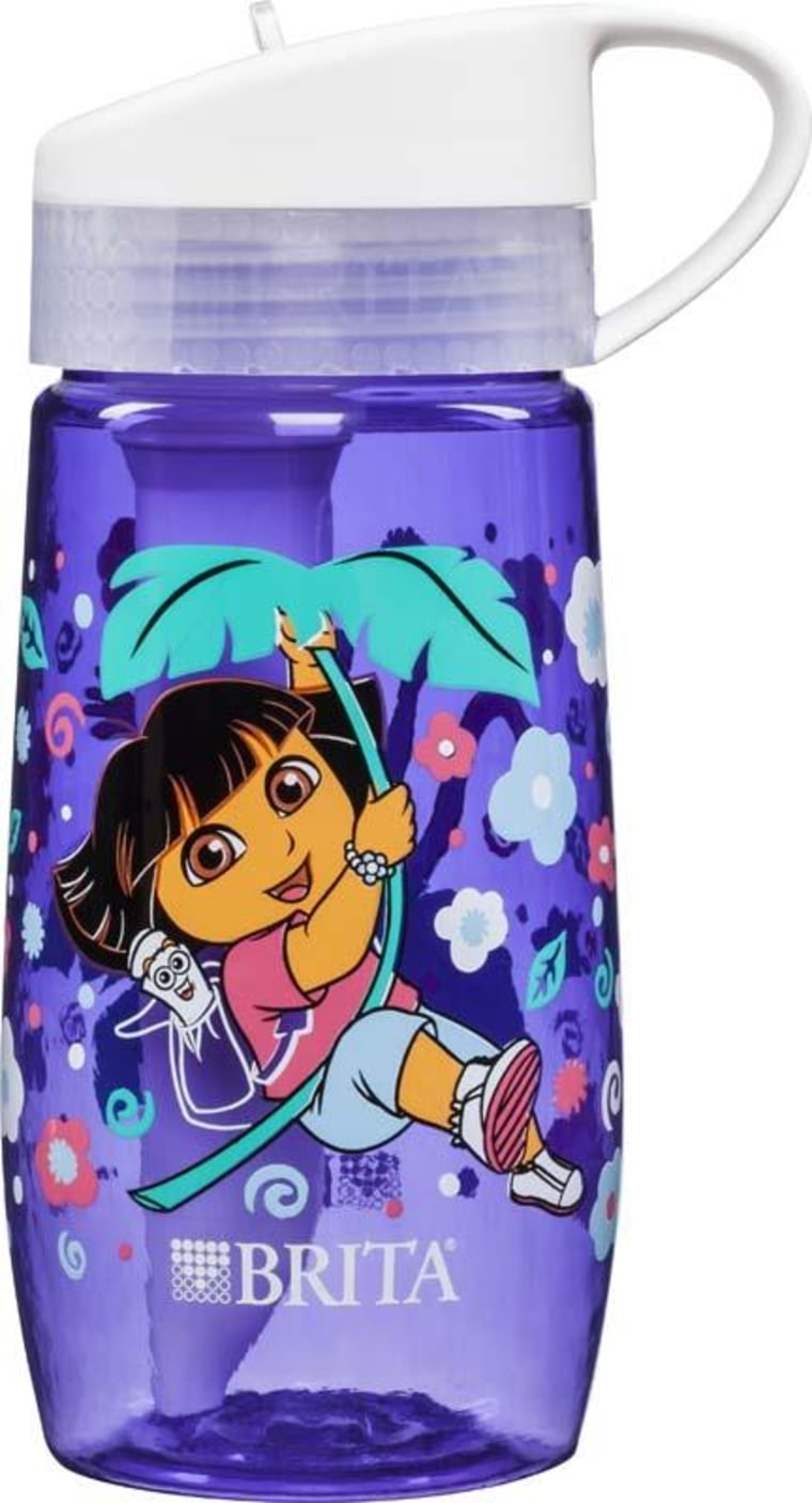 Image: The four recalled children's water bottles feature popular cartoon characters including Dora the Explorer, Hello Kitty, SpongeBob Square Pants and and Teenage Mutant Ninja Turtles.