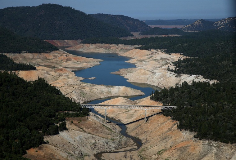 A section of Lake Oroville is seen nearly dry on Aug. 19, 2014 in Oroville, California.