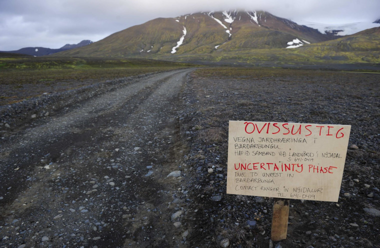 Image: Warning sign blocks road to Bardarbunga volcano in iceland