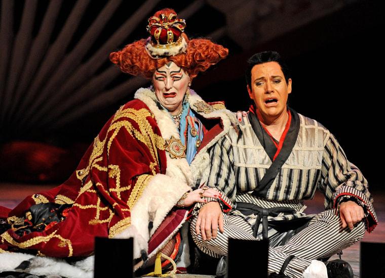 "Image: Performer's rehearse ""The Mikado"""