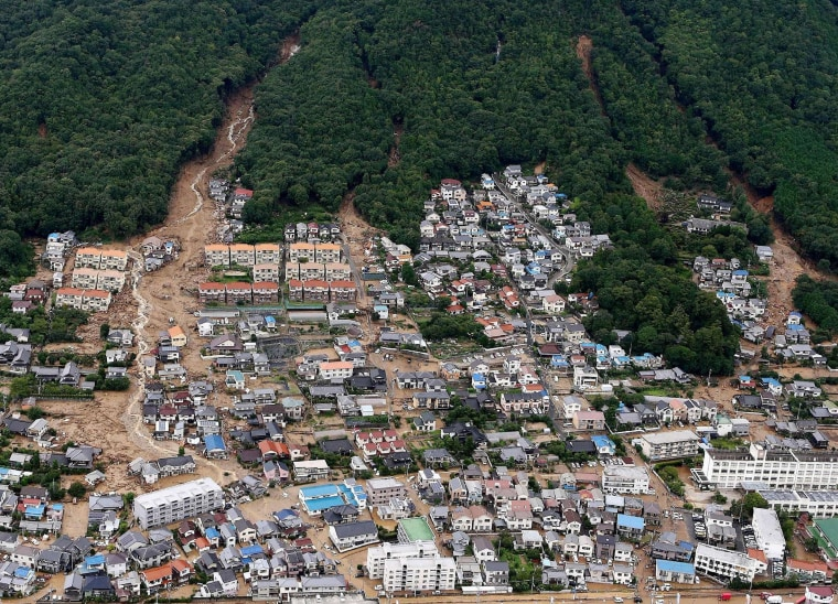 Image: An aerial view of the damage caused by a landslide after heavy rains hit the city of Hiroshima, western Japan, on Aug. 20.