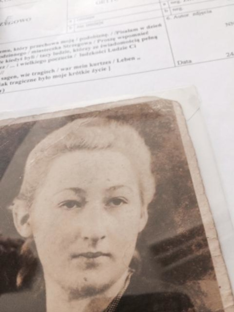 Photograph of Maria Tyk, who wrote an inscription on the back of the image before being taken to Auschwitz and killed.