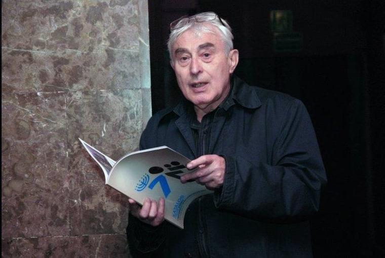 Jan Jagielski speaking at the Kino Muranow cinema in Warsaw, Poland.