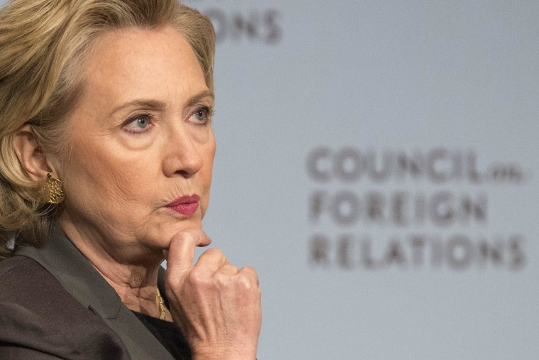 Image: Former U.S. Secretary of State Hillary Clinton reacts while speaking at the Council on Foreign Relations with CFR President Richard Haass in Manhattan, New York
