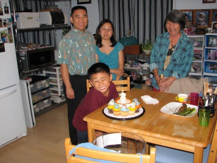 Jenee and Norman Odani, celebrating their son Nick's birthday with his grandmother Judith Ching.